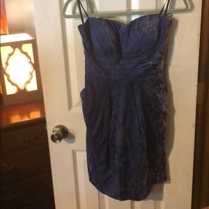 Dark blue strapless mini dress with pockets & bra